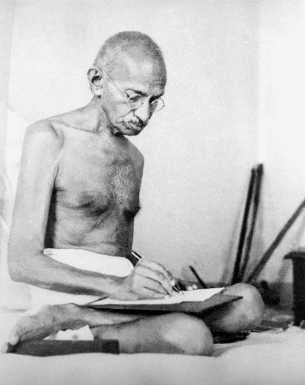Gandhi drafting a document at Birla House, Mumbai, August 1942.